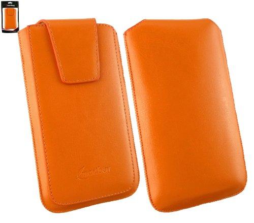 emartbuy® Sleek Serie Orange Luxury PU Leder Slide in Tasche Hülle Schutzhülle Hülle Cover (Size 4XL) mit Ausziehhilfe geeignet für Asus Padfone E