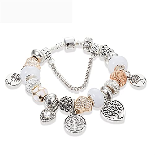 Beads Jewelry Heart Charm Bracelet Bangle Gold Color Cadena DIY Fit Beads Original Brazalets para Mujeres (Length : 18cm, Metal Color : B17005)