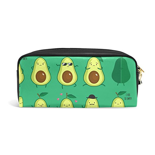 YZGO Pencil Case Funny Cute Avocados Emoticon Portable Pen Organizer Cosmetic Bag PU Leather Large Capacity for Travel