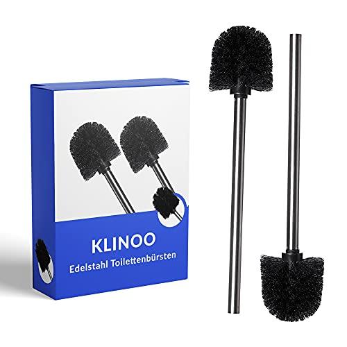 KLINOO Premium Set Toilettenbürste schwarz Bürstenkopf mit Edelstahl Griff WC Bürste rostfreie Klobürste - Ersatztoilettenbürste - Ersatzklobürste (2 Bürsten)