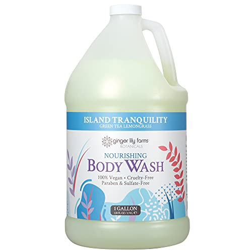 Ginger Lily Farms Botanicals Island Tranquility Nourishing Body Wash, Softens, Nourishes and Cleans Skin, Natural Spa Quality, 100% Vegan and Cruelty-Free, 1 Gallon
