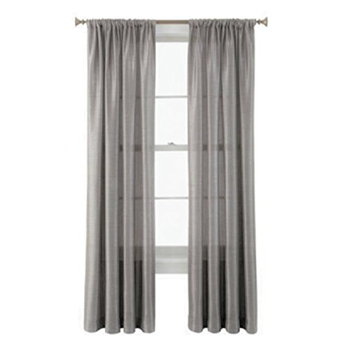 """GorgeousHome (MR2) New Window Collection 1pc Panel Curtain Faux Silk Rod Pocket Semisheer Treatment Unlined in Solid Colors and in 3 sizes (63"""" short, SILVER GREY)"""
