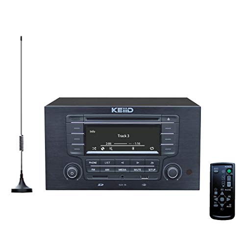 KEiiD CD Player with 4-Way 4x20W Amplifier 4.0 Output (No Speakers Inside) ,Built-in Bluetooth Receiver USB SD MP3 3.5mm AUX Line-in Remote Control LCD Display, RCA and 3.5mm Headphone Jack Output
