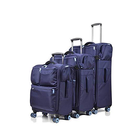 MJY Maleta con ruedas de viaje Equipaje impermeable Maleta con ruedas Bolsa de viaje Trolley Bolsas de 20 '' 24 '' 28 '' de tela Oxford de mano,Azul,28 '