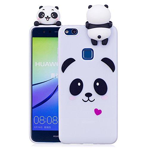 Keteen Cover Huawei P10 Lite Custodia, Elegante 3D Carino Animale TPU Silicone Bumper Flessibile Morbido Anti Graffio Protettiva Case Magro Cover per Huawei P10 Lite - Panda Bianco