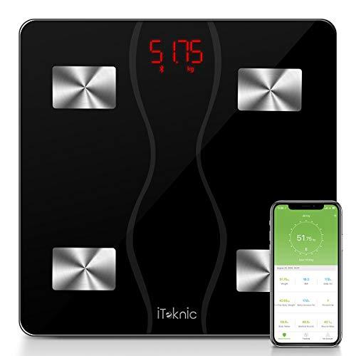 Bascula Baño Báscula Inteligente iTeknic Báscula Grasa Corporal Bluetooth Báscula Digital Persona de Peso Analiza 11 datos BMI Masa Mascular BMR Grasa Visceral APP para Andriod y IOS Batería Incluido