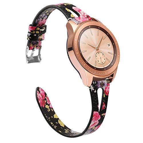 Ownaco Leder Uhrenarmband Kompatibel mit Samsung Galaxy Watch 46 mm Bänder Frauen Männer 22 mm Echtleder Ersatzarmband für Gear S3 Classic/Gear S3 Frontier Smartwatch (22mm Breite, Schwarzes Rosa)