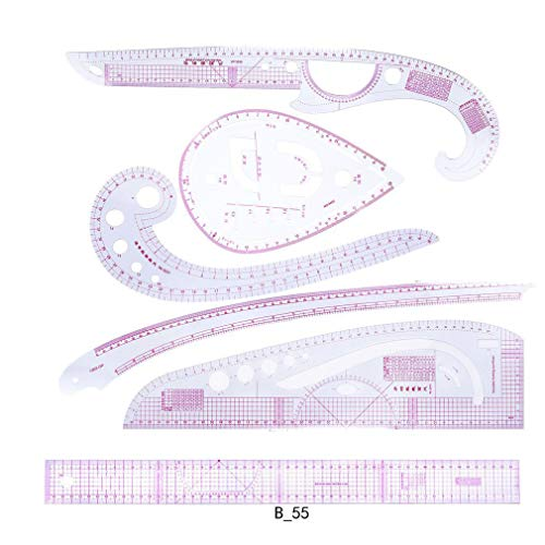 Nrew】 Conjunto de 7 Piezas Regla métrica Francesa, Recortadora de Ropa Curva de plástico Regla de Costura Adecuada para Costura Confección Patrón Diseño Dibujo Elaboración de Plantillas(Rosa)