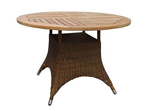 SAVANNAH tafel tuintafel Ø110 Zebra Teak & Poly Rotan Cognac