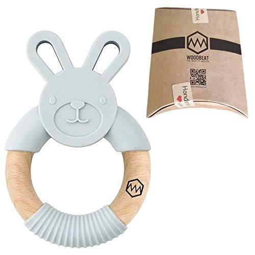Woodbeat Baby-Hasen-Ring | Übungsgriff Zahnspielzeug | Silikon – Holz & BPA frei | Beißring für Babys und Kleinkinder | beruhigt das wunde Zahnfleisch des Babys (hellgrau)