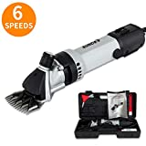 SUNCOO Portable Sheep Shears 6 Speeds Adjustable Alpaca Electric Clippers 350W Professional Shearing Trimmer for Goat Llama Horse Farm Animal Fur Livestock Pet Grooming, Heavy Duty with Carrying Case