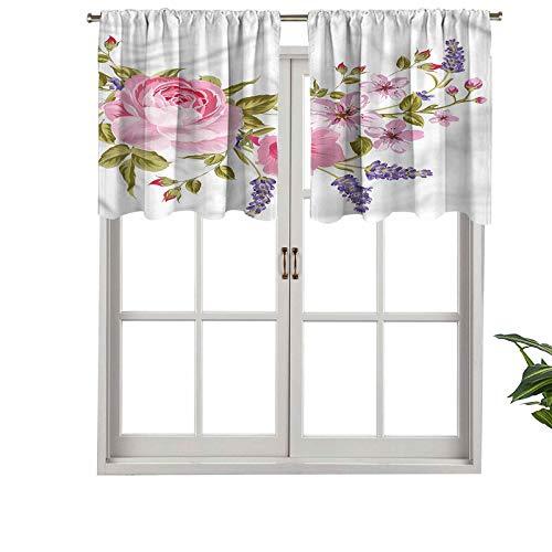 Hiiiman Blackout Short Curtain Panels Rod Pocket Garland of Rose Sakura, Set of 1, 42'x18' Small Half Window Valances for Bedroom