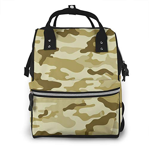 Risating Mummy Backpack - Army Brown Green Baby Changing Bags Multifunction Waterproof Twill Canvas for Baby Care