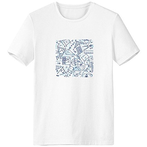DIYthinker Azul Mano Escote de matemáticas Pintado Regla calculadora Tijeras ilustración la Camiseta Blanca de Primavera y Verano de Tagless la Comodidad del algodón se Divierte Las Camisetas Regalo