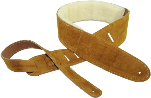 Perri's Leathers Suede Guitar Strap, Natural, Adjustable Length 41″ to 56″, Soft Sheepskin Fur Pad Backing, 2.5' Wide