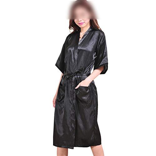 who-care Plus Size XXXL Navy Blue Rayon Bademantel Damen Kimono Lang Robe Sexy...