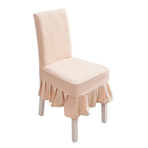 PETCUTE Stuhlhusse Stretch stuhlbezug elastische Hussen für Stühle Spandex Stuhlhussen für Hochzeit 6er Set Hellgelb