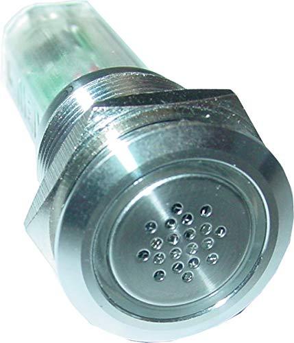 Vollmetall-Buzzer, 19mm, Alarmsirene, rote LED, Sirene, Minisirene, 6-12V, AS16