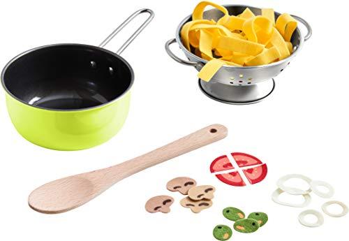 HABA 305133 - Koch-Set Italienische Küche, Zubehör für die Kinderküche, mit Kochtopf und vielen Spiellebensmitteln, Kleinkindspielzeug ab 3 Jahren, perfekt für Rollenspiele