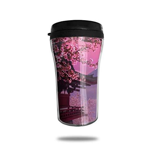 OUYouDeFangA Schöner Reise-Kaffeebecher mit Pavillon- und Pflaumenblütenmotiv, 3D-gedruckt, tragbar, Vakuum-Becher, isolierte Teetasse, Wasserflasche, Trinkbecher zum Trinken mit Deckel, 250 ml