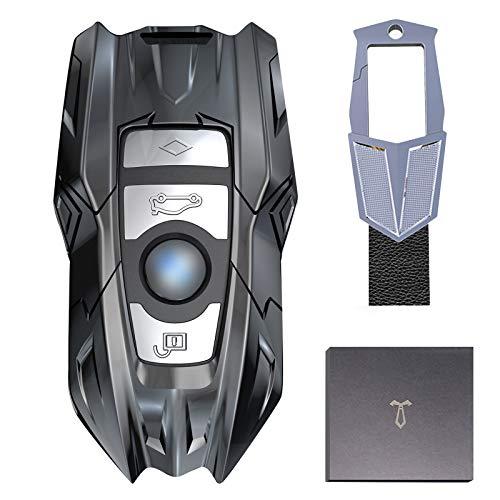 LORESJOY Autoschlüssel Hülle kompatibel mit BMW,Schutzhülle Schlüsselhülle für Keyless Serie 1 3 4 5 6 7 Serie And X3 X4 M5 M6 Gt3 Gt5 Smart Zinklegierung Schlüsselhülle Cover
