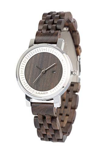 LAiMER 0065 - JULIA, Orologio analogico da polso al quarzo, con cristalli Swarovski, cassa in acciaio premium e cinturino in legno Sandalo, donna