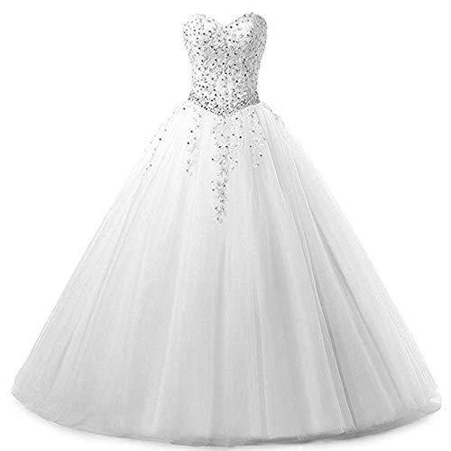 Zorayi Damen Liebsten Lang Tüll Formellen Abendkleid Ballkleid Festkleider Weiß Größe 46