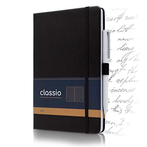 CLASSIO Notizbuch A5 liniert mit Index, Pen-Loop & Falttasche | 200 nummerierte Seiten weißes Papier 100 g/m2 | 180°Grad aufklappbar | A5 Tagebuch/Schreibheft | Kunstleder Hardcover