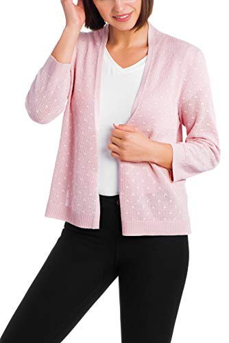 Cable & Gauge Womens Apparel Open Front Overlap Shrug - Mesh Bobble Stitching Pink Sand