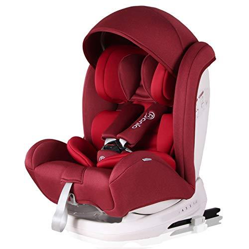 Bonio Kindersitz 9-36 kg Verstellbare Kopfstütze, Kinderautositz Gruppe 1 2 3, mit ISOFIX, 4 Sitzund Schlafpositionen, Autositz ab 9 Monate bis 12 Jahre, Rot