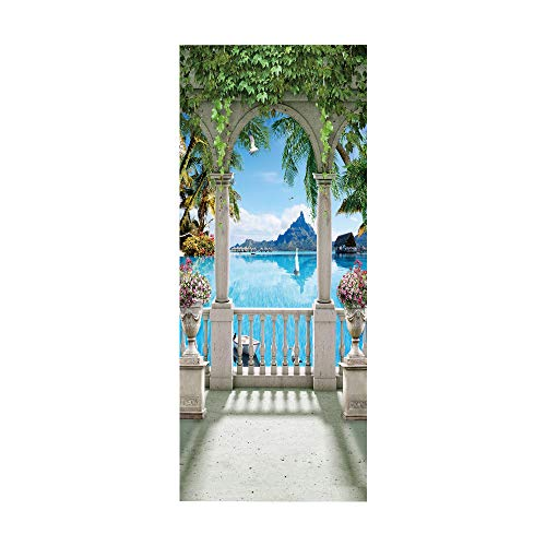 KEXIU 3D Vista del lago Dong PVC fotografía adhesivo vinilo puerta pegatina cocina baño decoración mural 77x200cm