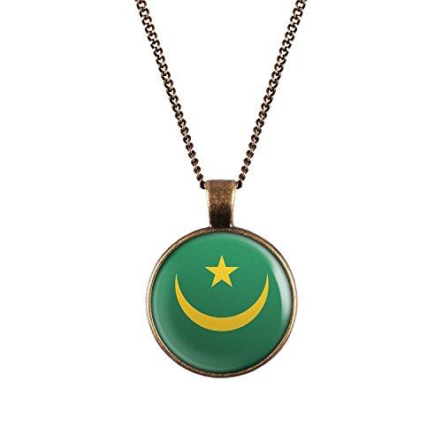 WeAreAwesome Mauretanien Flagge Halskette - Länderkette mit Fahne Anhänger Unisex Kette Afrika