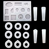 DaNaRaa 13 Pieces 3 Kinds and 3 Size Silicone Ring Mold Jewelry Rings Resin Casting Circle Mould and 4 Kinds of Pendant Making molds