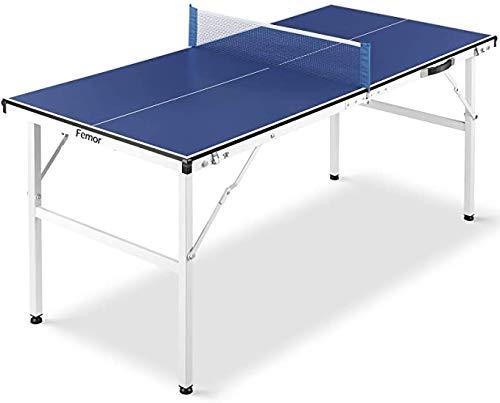 FEMOR Mesa de Ping Pong Plegable con Red, Mini Mesa de Ping Pong de 150 x 70 x 67 cm, Mesa de Ping Pong para Interior y Exterior, Material de Acero, Azul