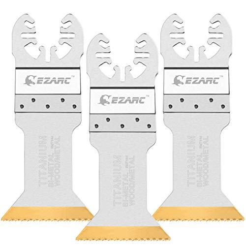 EZARC Titanio Accesorios Herramienta Oscilante corte Fuerte Cuchillas de sierra para Material de madera y Metal duro, 3pc