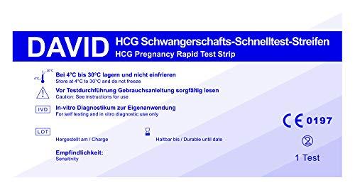 30 x David Schwangerschaftstest Streifen 10miu/ml HCG Schnelltest