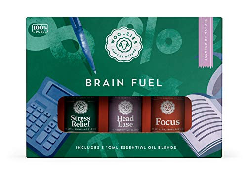 Woolzies 100% Pure & Natural Brain Fuel Essential Oil Set | Highest Quality Aromatherapy Therapeutic Grade | incl. Stress Relief, Head Ease & Focus Oil Blend | for Attention, Focus, Calm