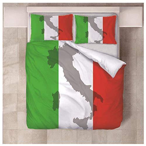 Daoxizhou Funda NóRdica, Juego De Cama De Microfibra, Juego De Cama con La Bandera De Italia, AlgodóN Y PoliéSter, Suave Y AntialéRgico,King Size(220 * 240cm)