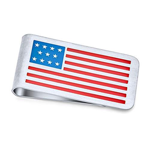 Bling Jewelry Patriottico USA Bandiera Americana Rosso Bianco Blu Strisce Striscia Soldi Clip per Gli Uomini papà Semplice Carta di Credito incisa Smalto Argento Tono Acciaio Inossidabile