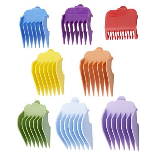 """Cosyonall 8 Pcs 8 Color Guide Combs Fit for Clipper-Blade Width 38.5mm/Length 45.5mm–8 Cutting Lengths from 1/8""""to 1""""(3-25mm)–Great for Professional Stylists and Barbers"""