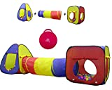 Kiddey 3pc Kids Play Tent Crawl Tunnel and Ball Pit Set – Durable Pop Up Playhouse Tent for Boys,...
