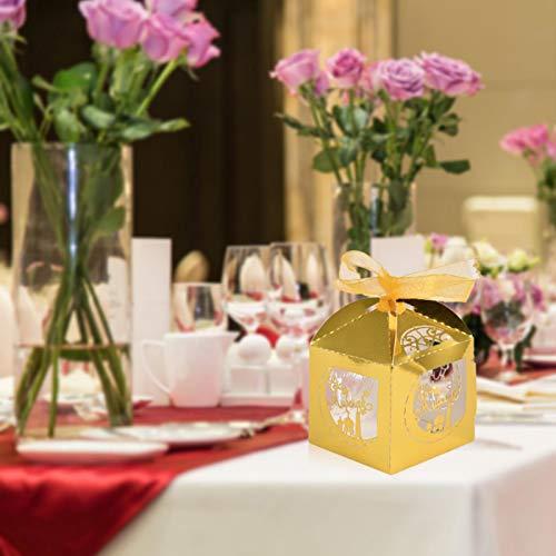 Caja de regalo musulmana, 50 unidades, ahueca hacia fuera Eid Mubarak Ramadan boda fiesta caramelo caja con cinta corta favor chocolate regalo caja de papel decoraciones
