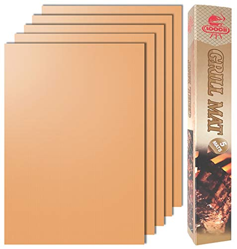 LOOCH Copper Grill Mat Set of 5-100% Non-Stick BBQ Grill & Baking Mats - PFOA Free, Reusable and Easy to Clean - Works on Gas, Charcoal, Electric Grill and More - 15.75 x 13 Inch
