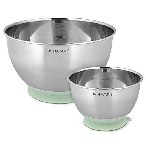 Navaris Rührschüssel Schüssel Schale aus Edelstahl - 2-teiliges Set Küchenschüssel mit Saugnapf - Edelstahlschüssel Schüsselset in Mintgrün