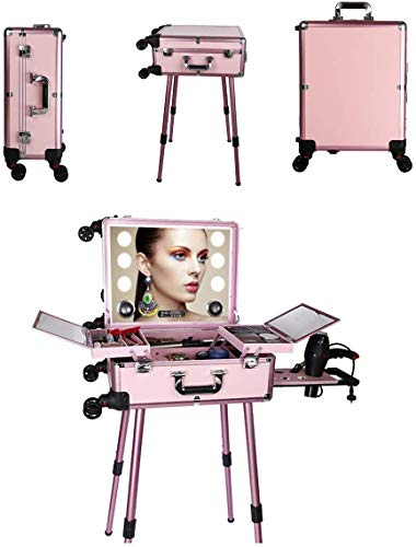 BYCDD Maquillaje de Tren Maleta con Ruedas, Estuche Cosméticos El Artista Maletín Maquillaje Trolley para Peluquería, Maquilladores, Esteticistas Bolsas,Pink