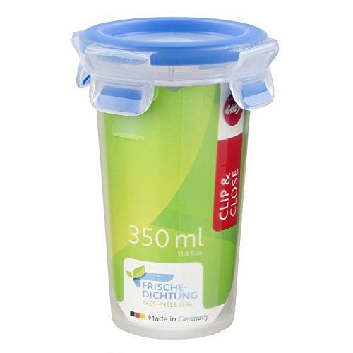 Emsa 508551 Runde Frischhaltedose mit Deckel, 0.35 Liter, Transparent/Blau, Clip & Close
