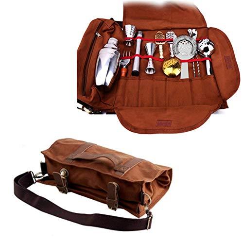 ZH1 Conjunto de Herramientas de cóctel Tunned Wineman Toolbox Handbag, Herramientas de 17 Bar, Lienzo de Cuero de Grano Completo