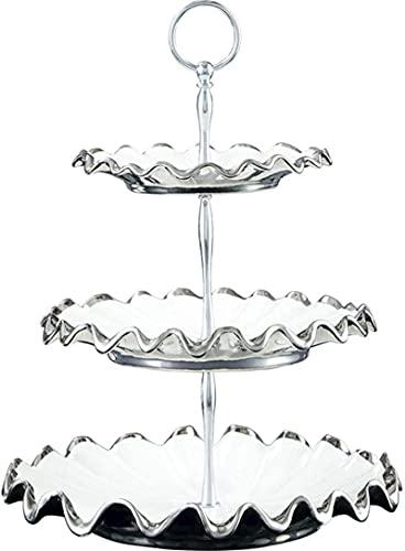 YANSJD Fruit Vegetable Bowl Basket 3 Tier Silver Ripple Fruit Plate, Modern Fashion Ceramic Ornaments Fruit Display Stand