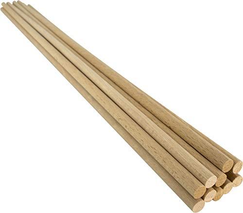 Holzstäbe Varillas de Madera de Haya Natural, diámetro de 8 mm, Longitud de 50 cm, 10 Unidades, para Manualidades, modelismo, artesanía, Naturaleza, Ø 8 mm x 50 cm