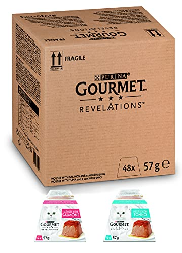 PURINA GOURMET REVELATIONS Cibo Umido per Gatti, Mousse con Salmone, Tonno e una Cascata di Salsa, 48 confezioni da 57 g